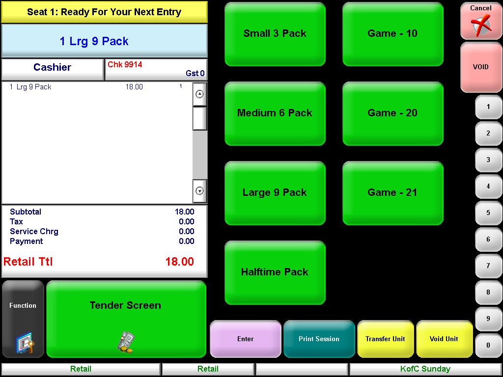 MICROS Selling Screen