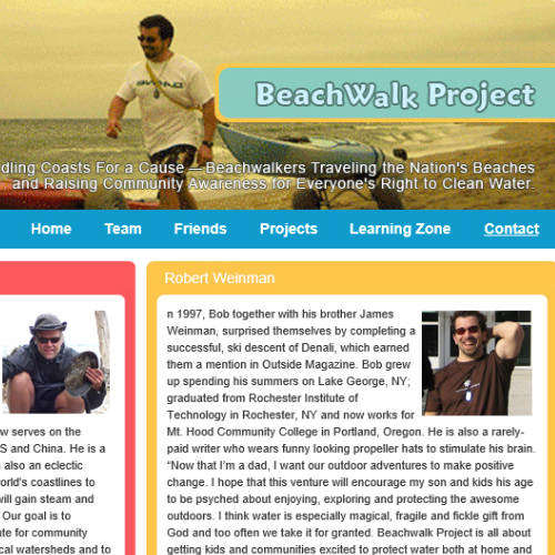 Beachwalk Project : Build interest for the importance of cleaning up beaches.  See website