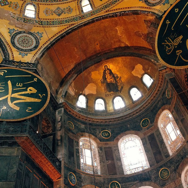 Hagia Sophia is a magical place where I love to see traces of two religions together. Former Greek Orthodox patriarchal basilica, later an imperial mosque, and now a museum, Hagia Sophia is a history itself. Built in 537, it's survived many fires, earthquakes, and wars. Currently undergoing restoration, it still welcomes visitors. -   @ohhappystudio