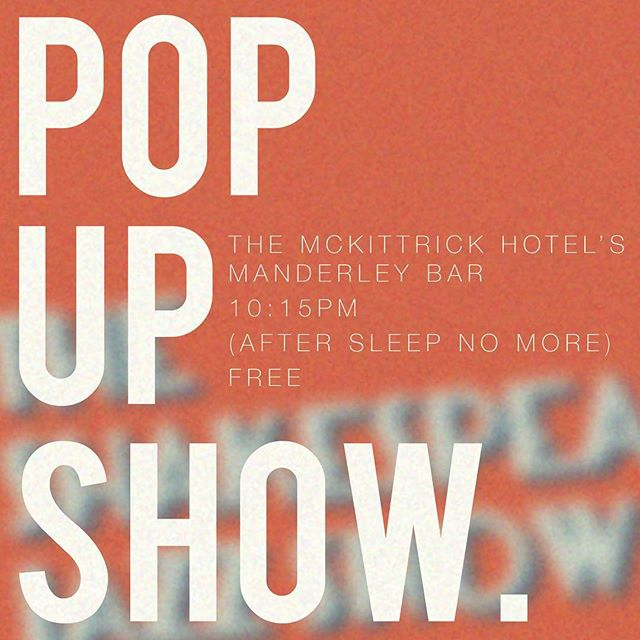 Against the advice of Drake, we decided to do it for free. We've just added a pop-up show at @themckittrick, this Thursday 2/8. You're not required to see Sleep No More, just meet us in the Manderley Bar around 10:15, k? First come, first seated, and did we mention it's free? See you Thursday 😘