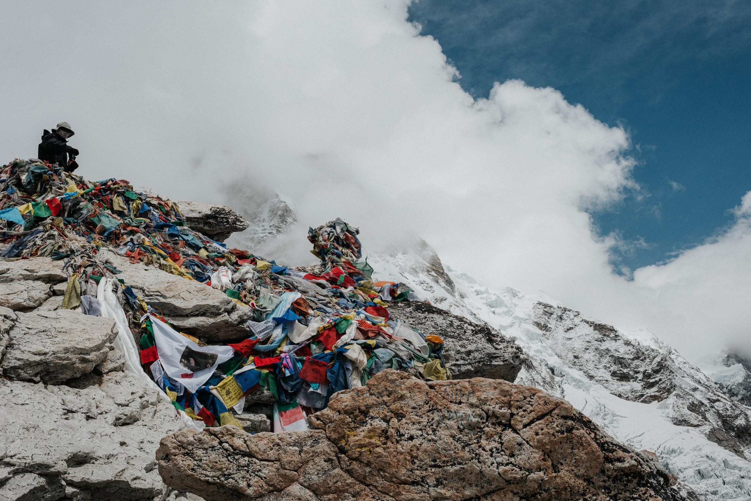 Kala Pattar Summit covered in prayer flags.