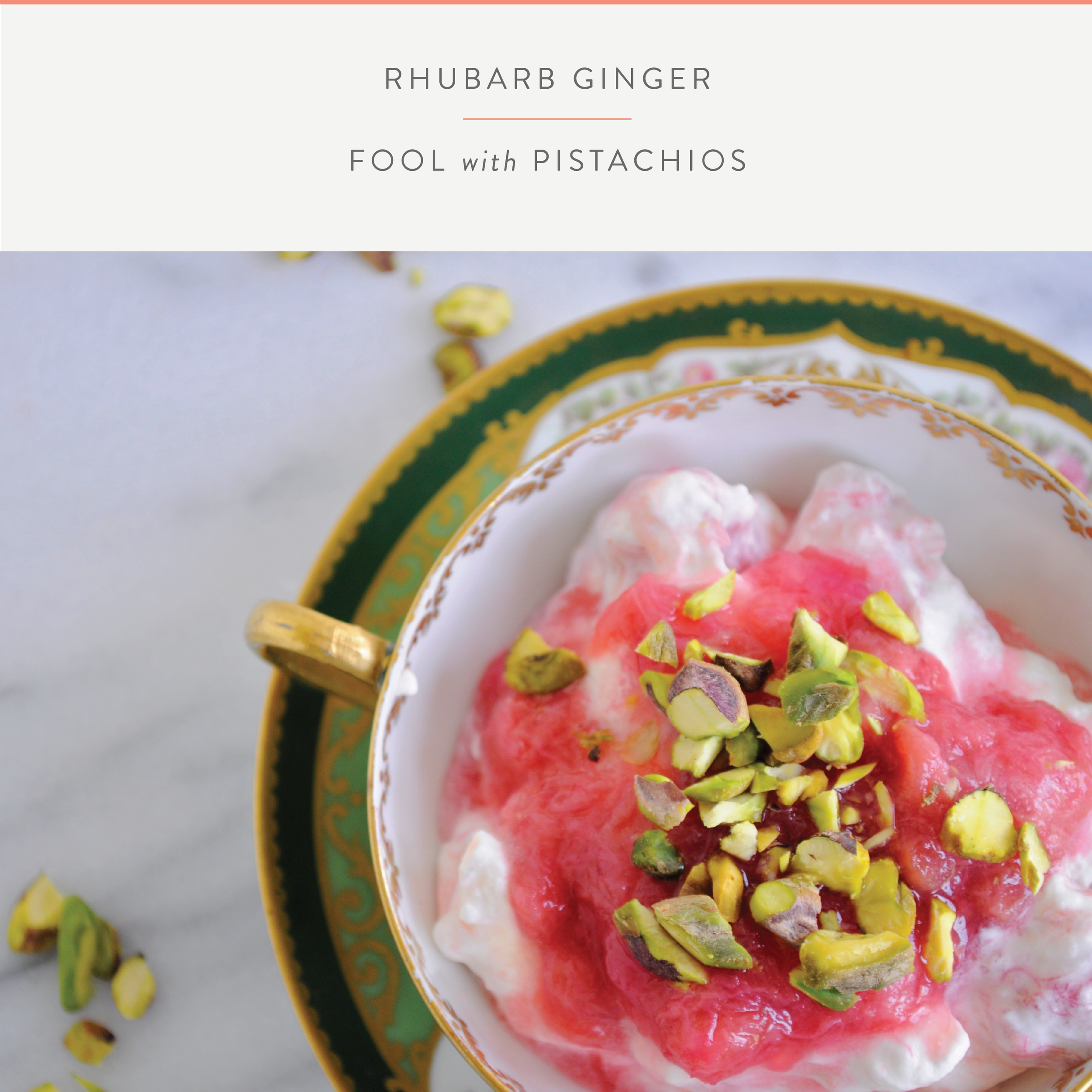 Summerfield Delight   Rhubarb Ginger Fool with Pistachio Crumbles