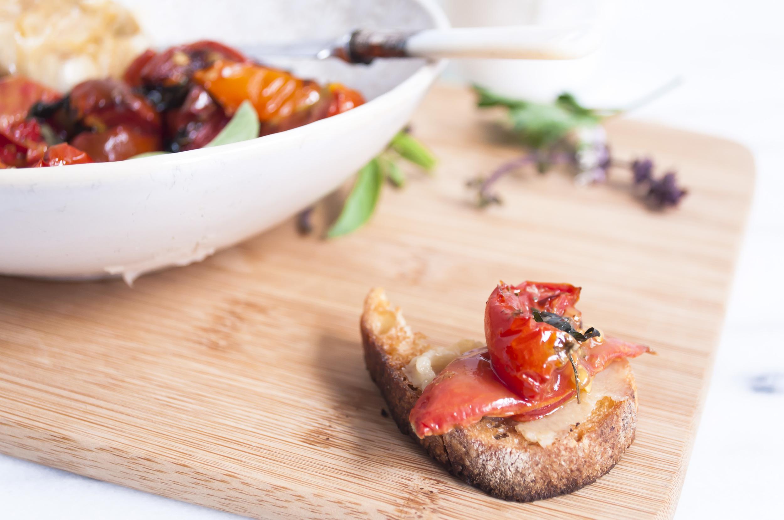 Roasted Garlic and Heirloom Cherry Tomatoes on Toast