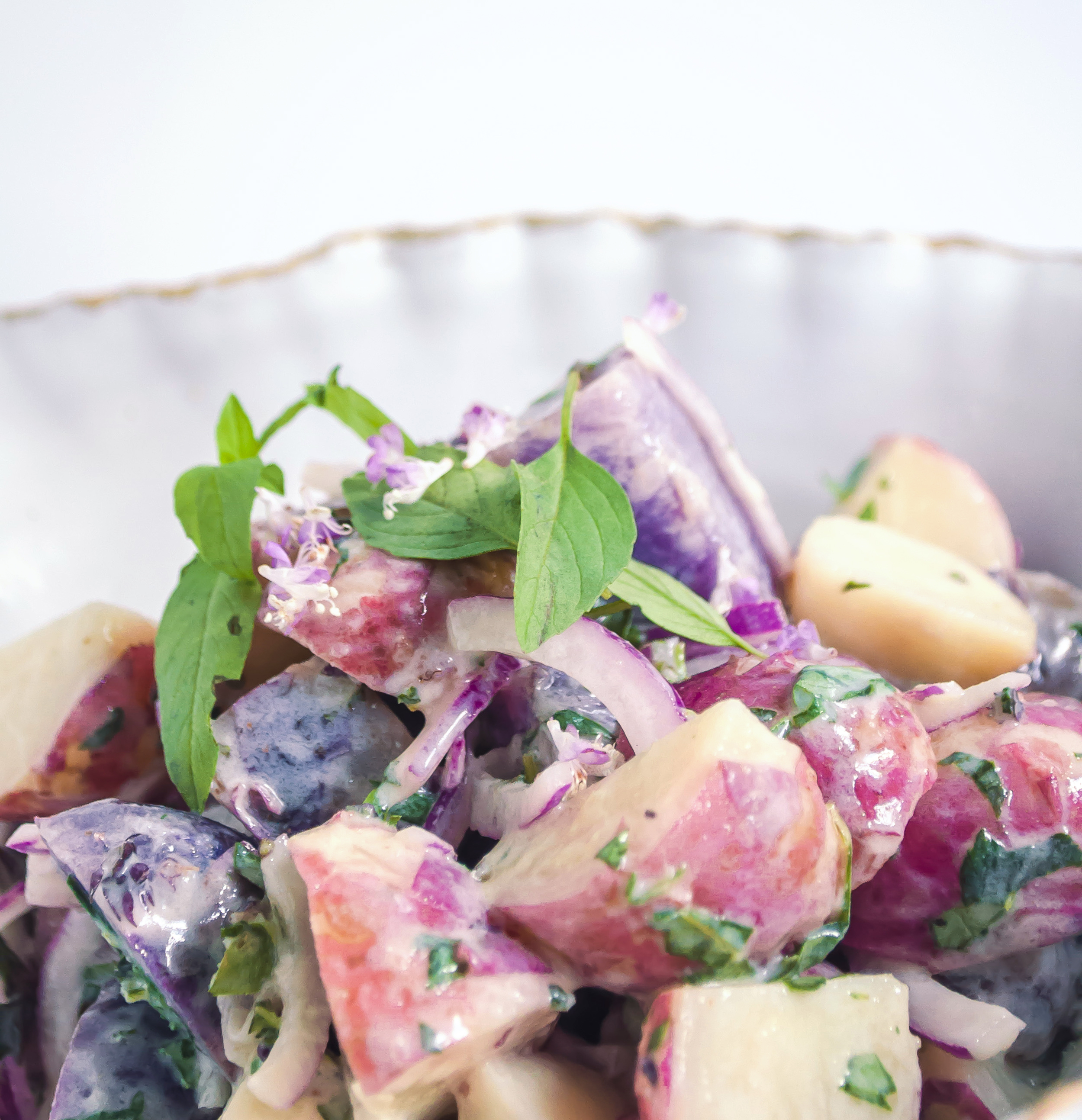 Purple and Red Potato Salad with Thai Basil Yogurt Dressing