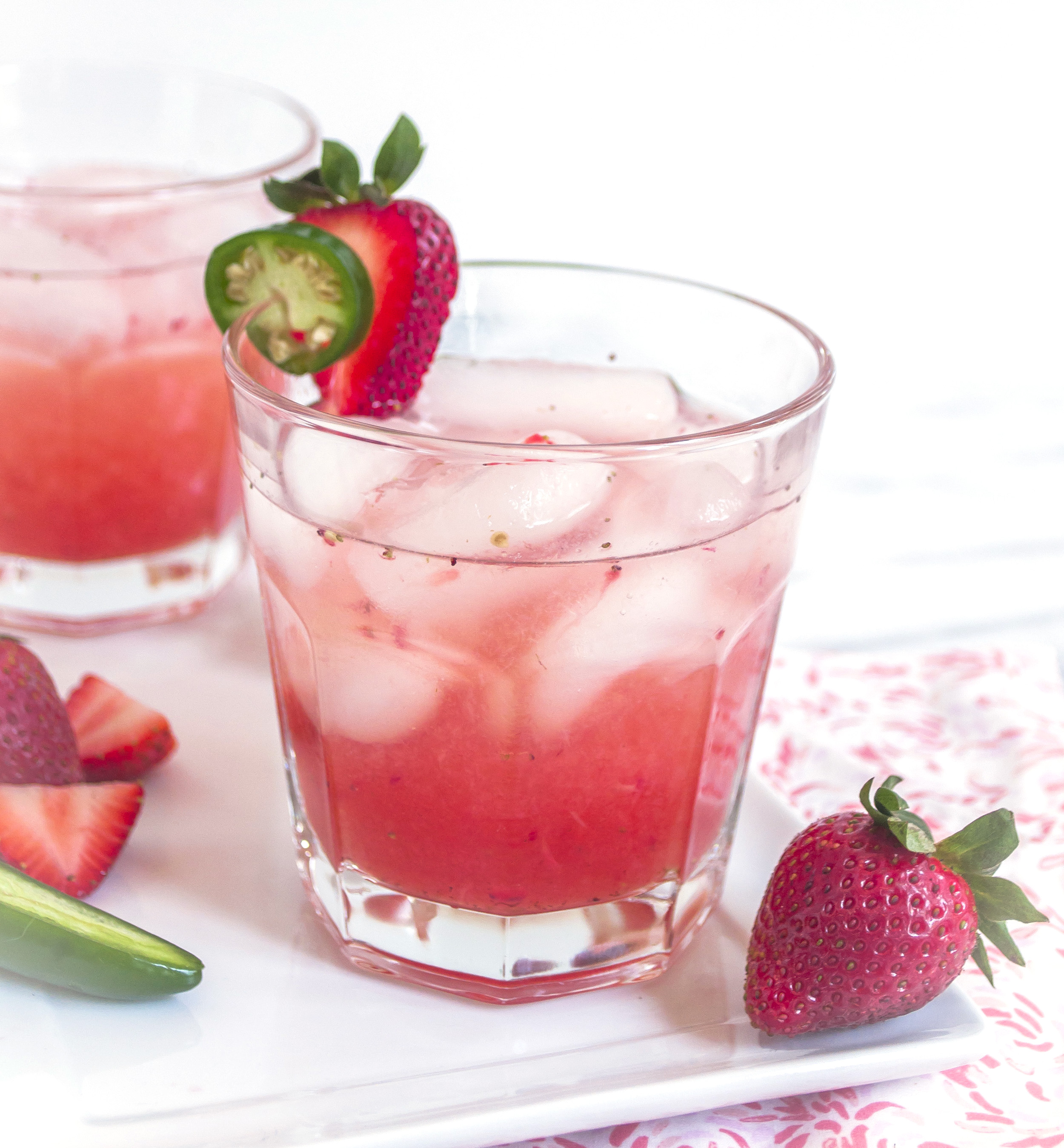 Spicy Strawberry Jalapeno Daiquiris with Cruzan Rum Strawberry