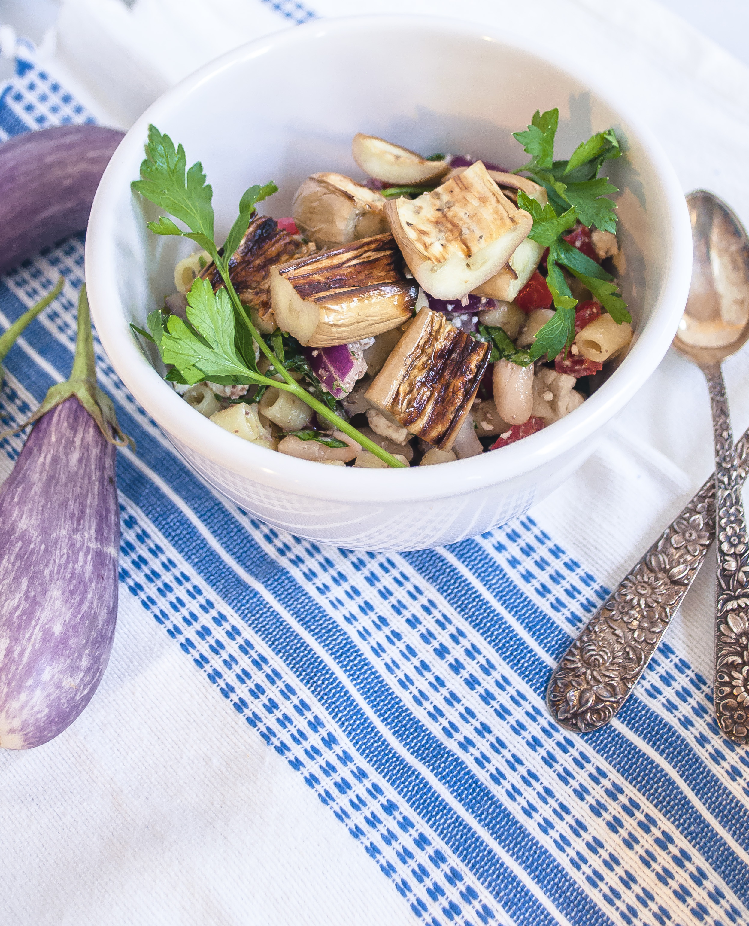 Greek Pasta Salad with Broiled Mini Eggplants