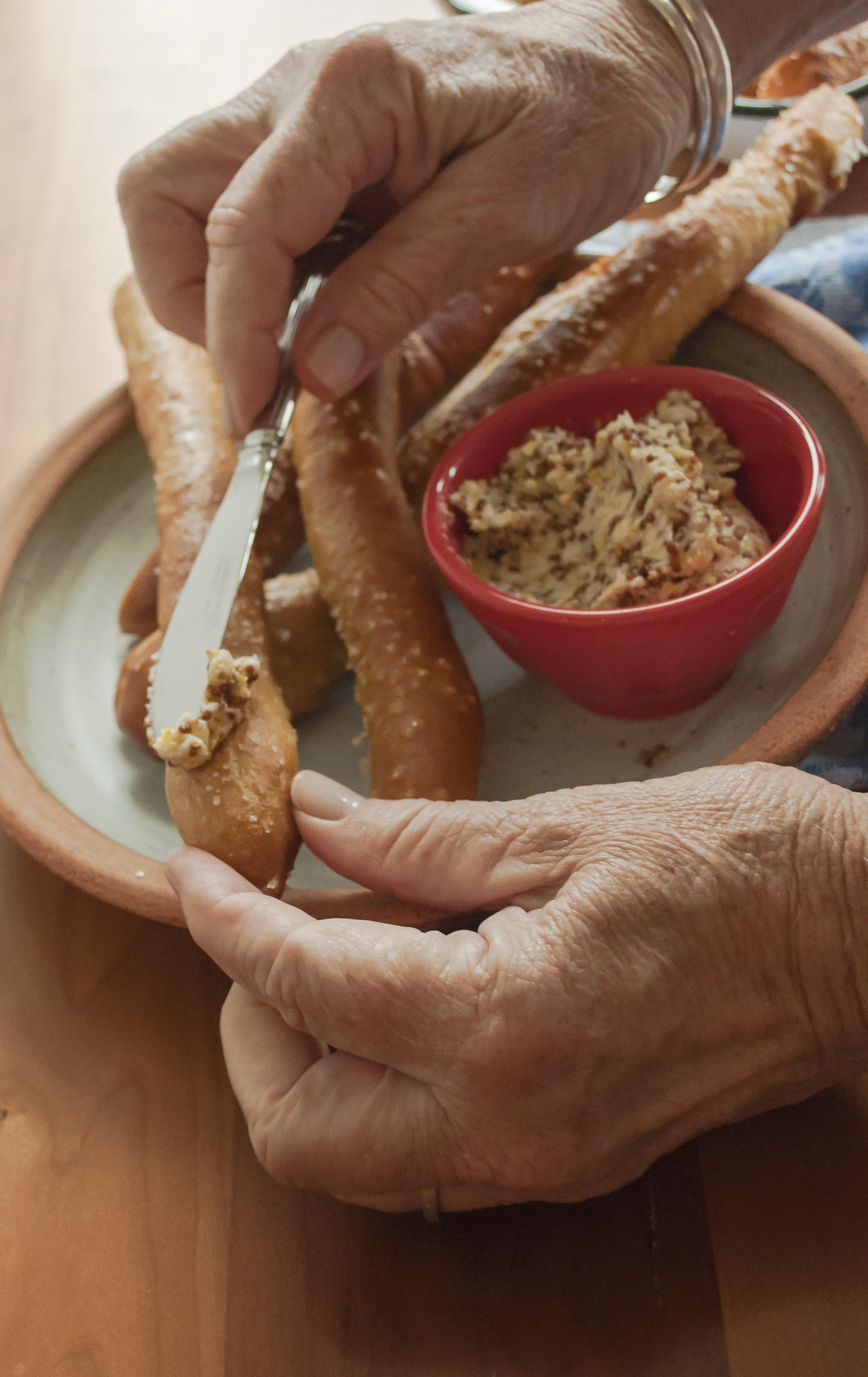 Pretzel Breadsticks with Mustard Butter