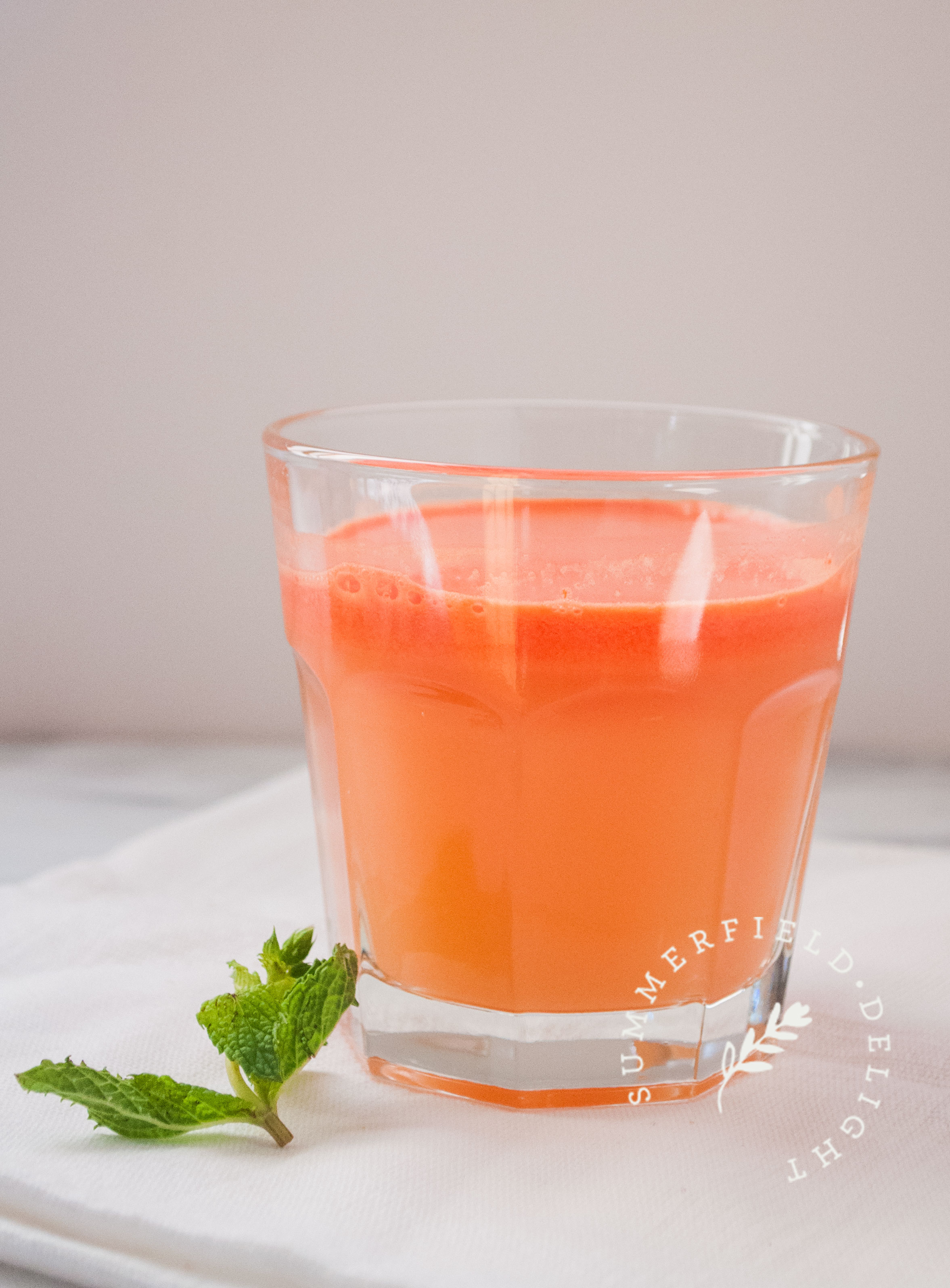 Watermelon Grapefruit Juice with Ginger and Mint