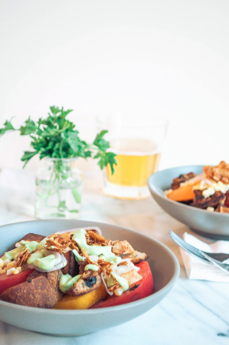 Tomato Crouton Salad with Vegetarian Bacon and Creamy Dressing