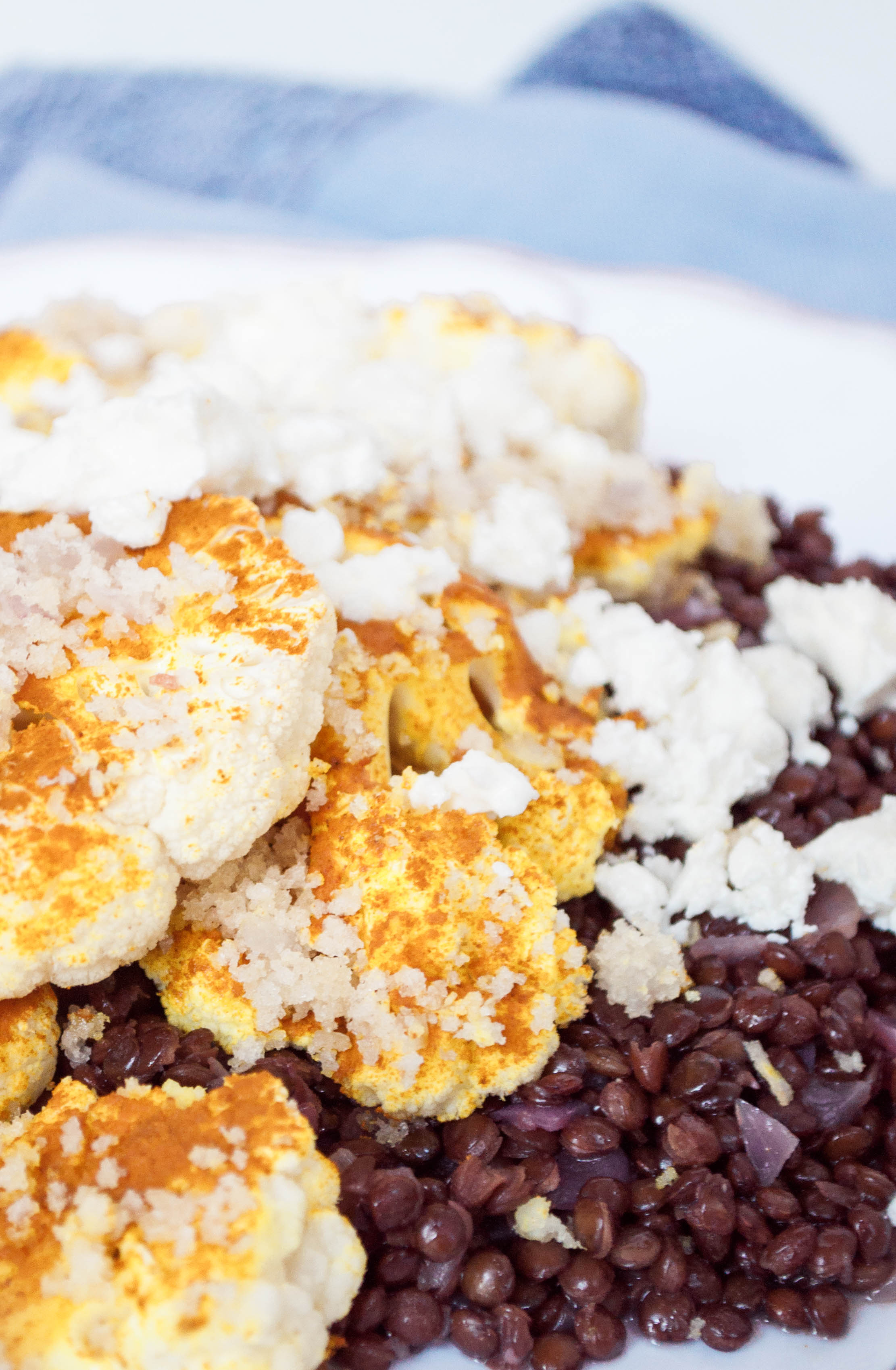Turmeric and Panko Cauliflower with Black Lentils