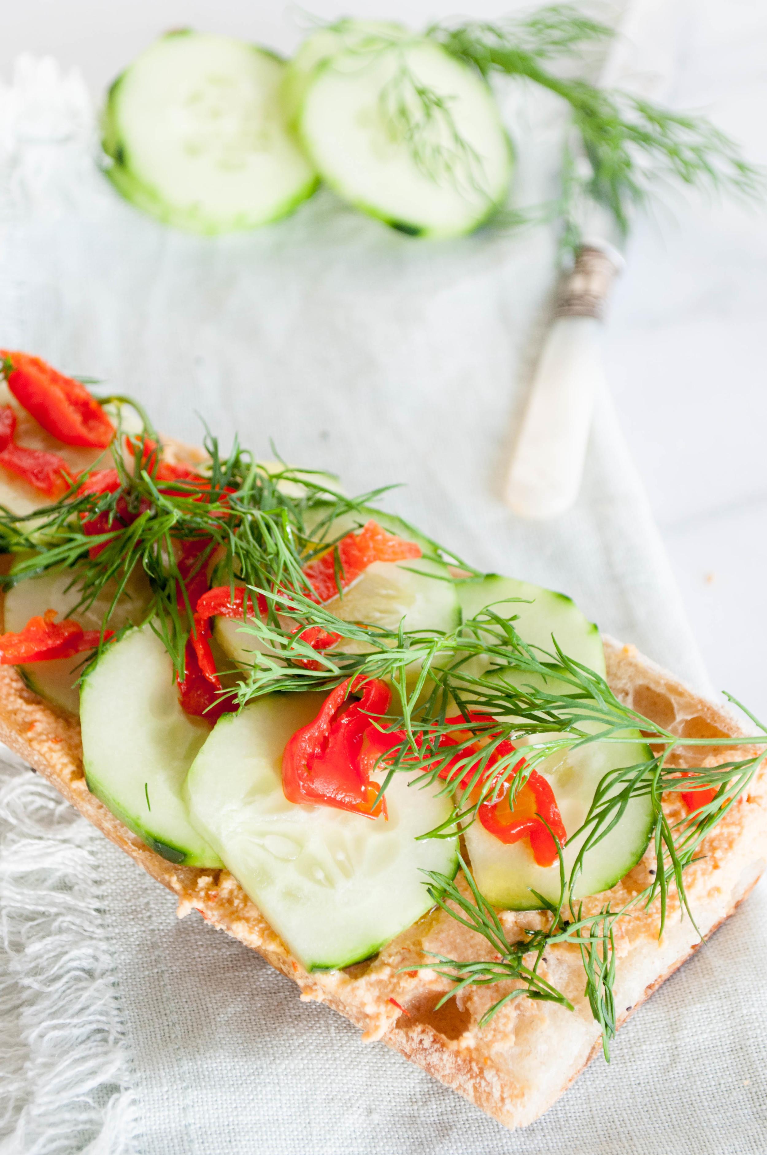 Summerfield Delight | Cucumber Baguette with Peppadew Hummus