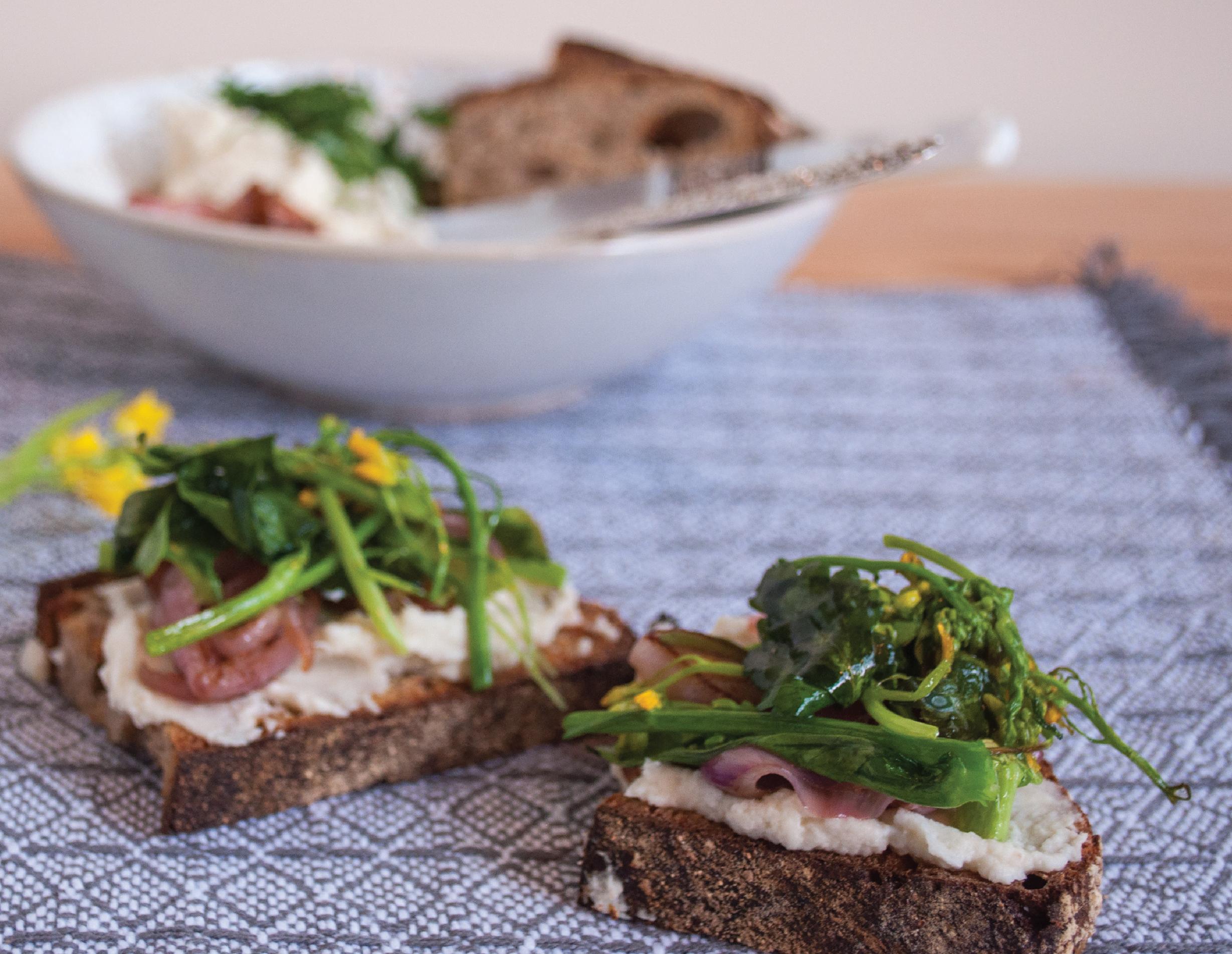 Summerfield Delight | Tartine Toasts with Roasted Cauliflower Hummus and Sautéed Shallots and Rapini