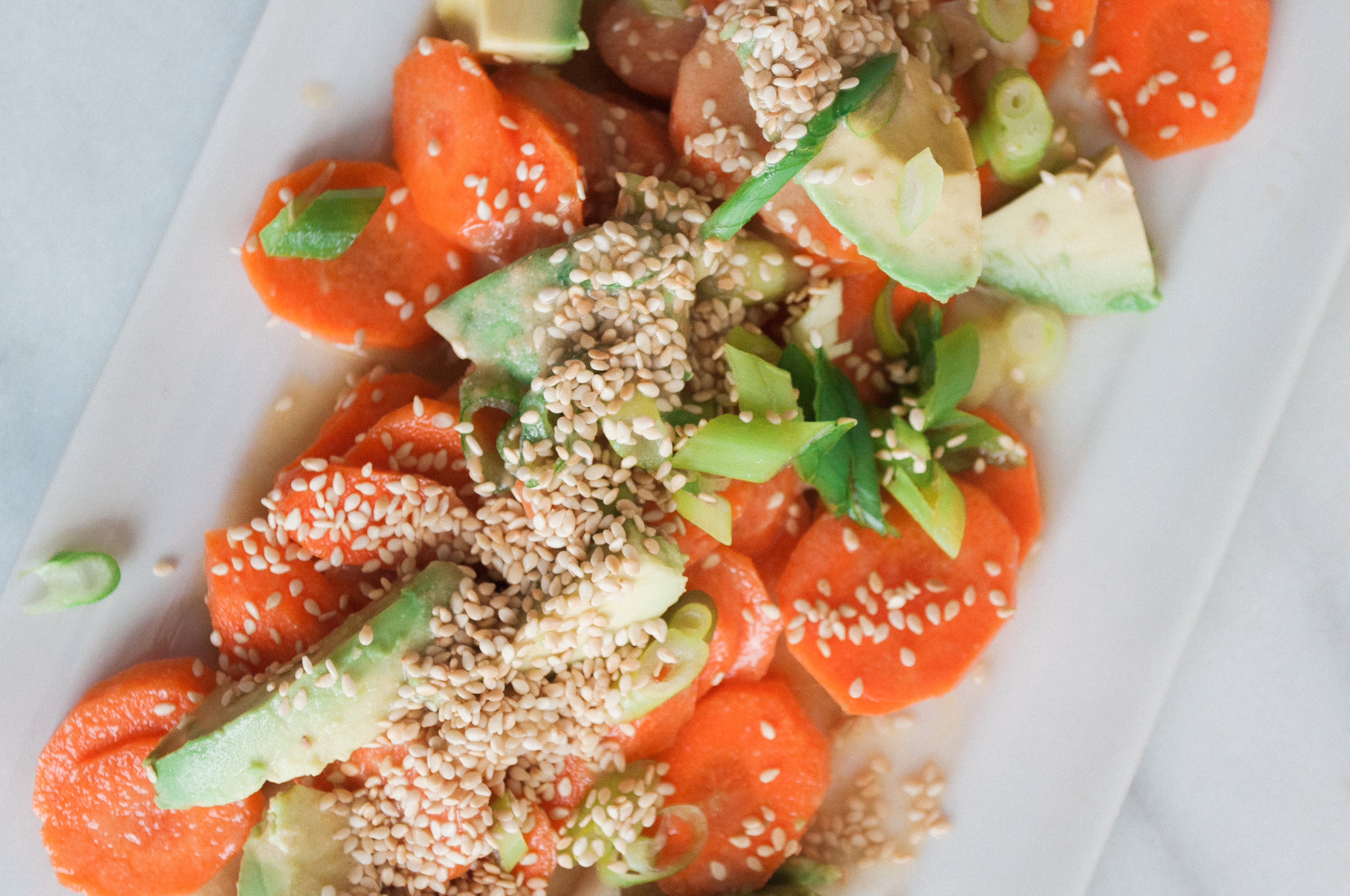 Summerfield Delight by Meg Summerfield   Review of Small Victories Cookbook by Julia Turshen   Carrot Sesame Salad with Avocado
