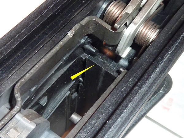 The CX4 magwell, viewed from above and looking towards the stock end of the rifle.
