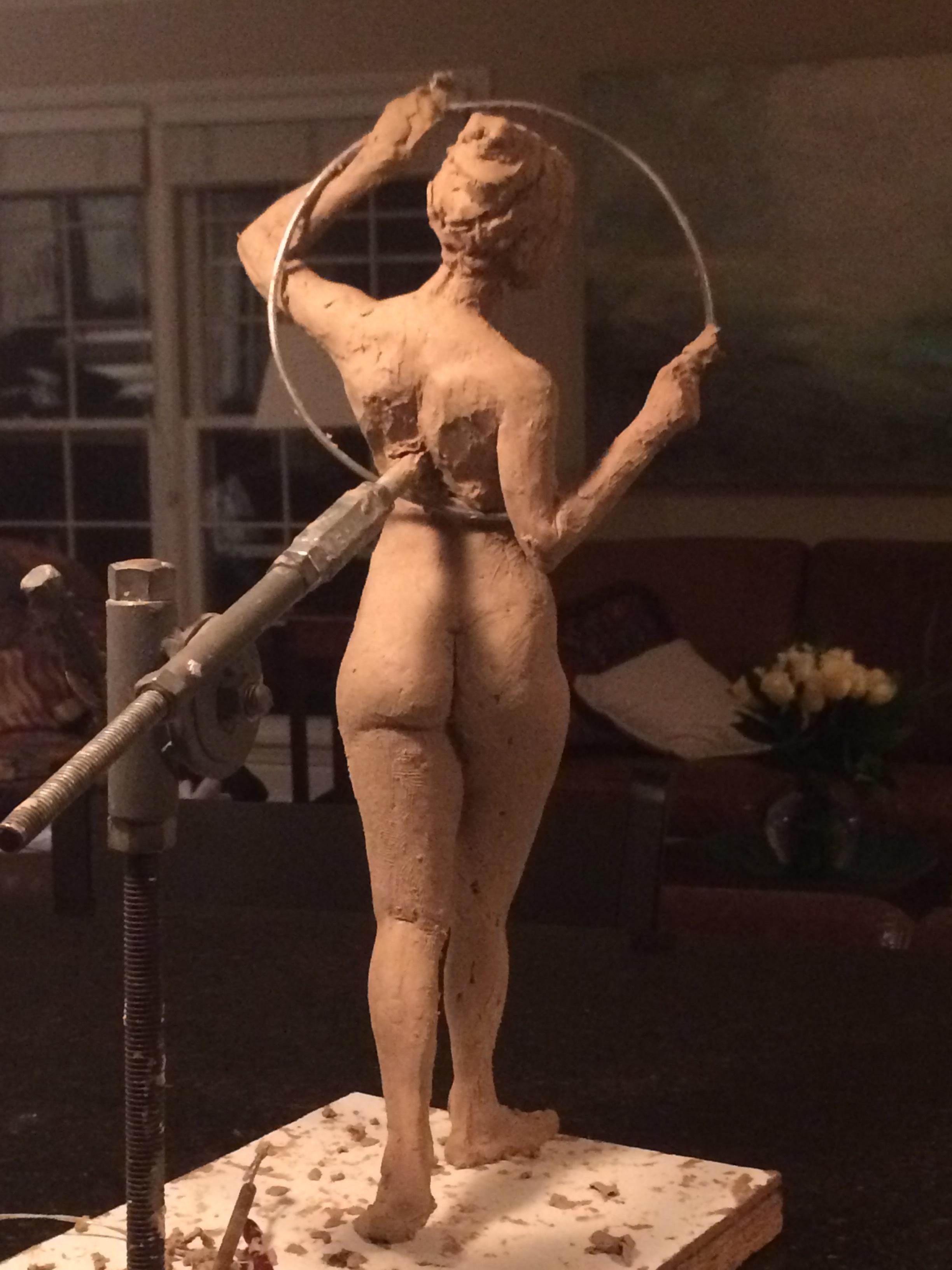 "Figure with Hoop,16"", clay"