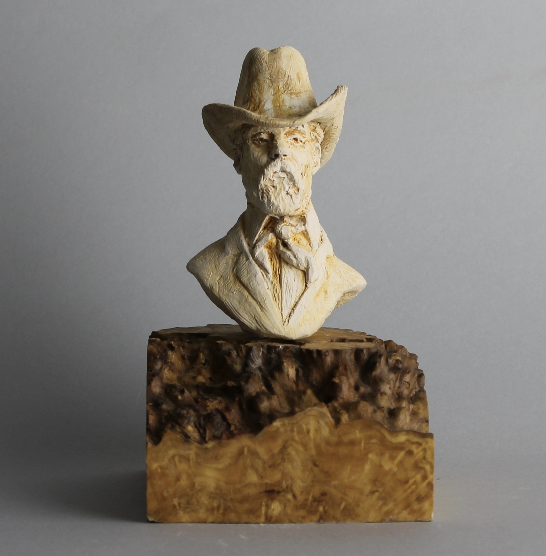 Clay Cowboy I, fired and glazed