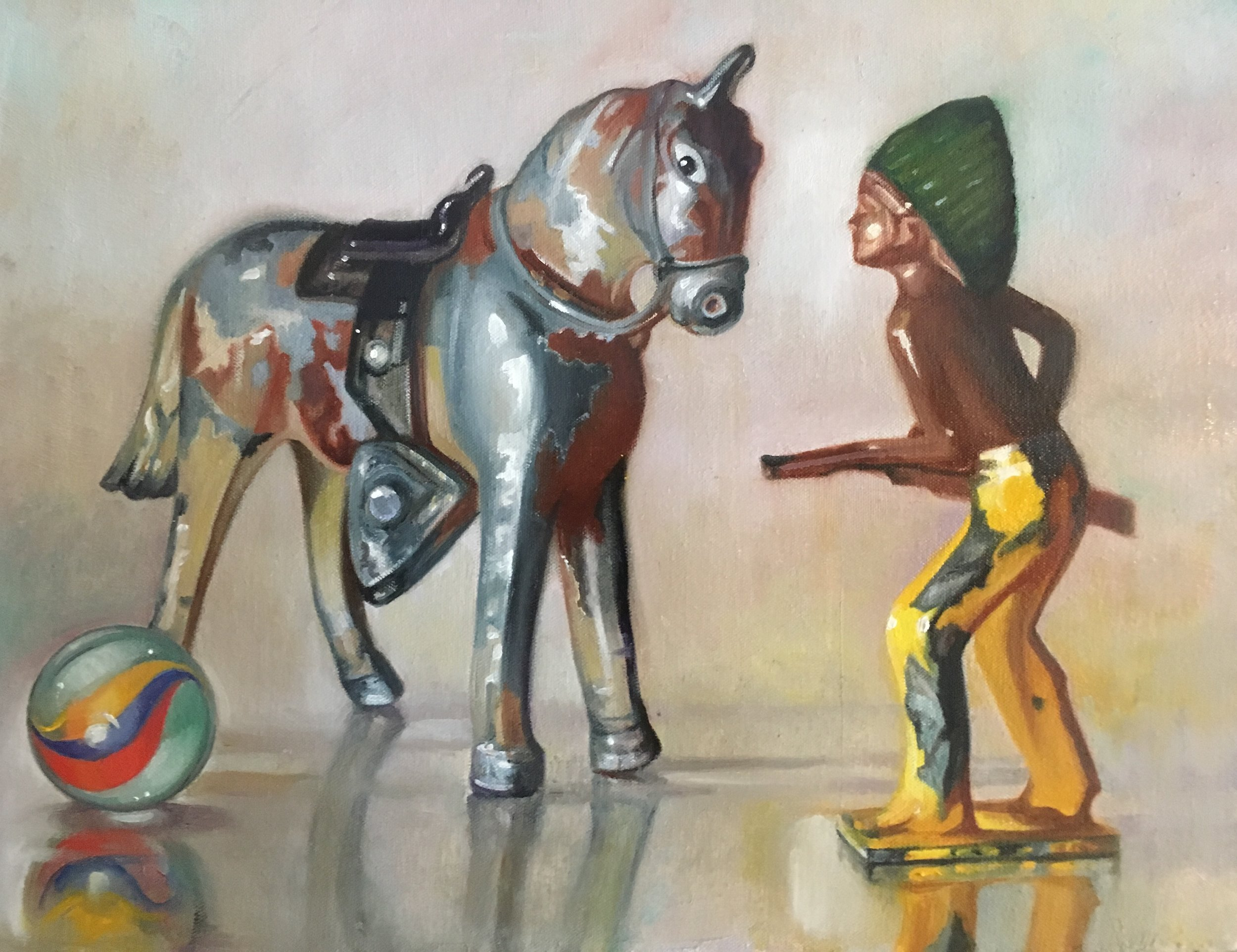 """The Stand-off with Red Horse, 16""""x20"""", oil on canvas"""
