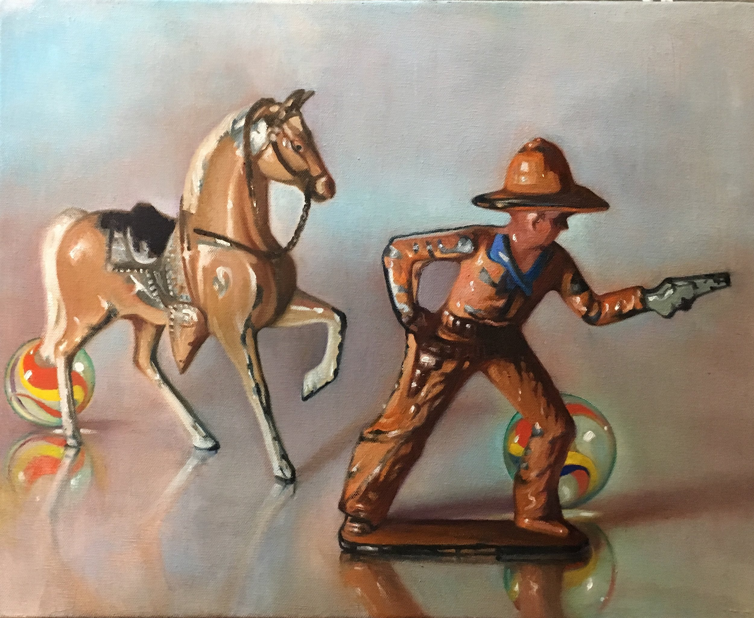 """Stand-off with Red Horse, 16""""x20"""", oil on canvas"""