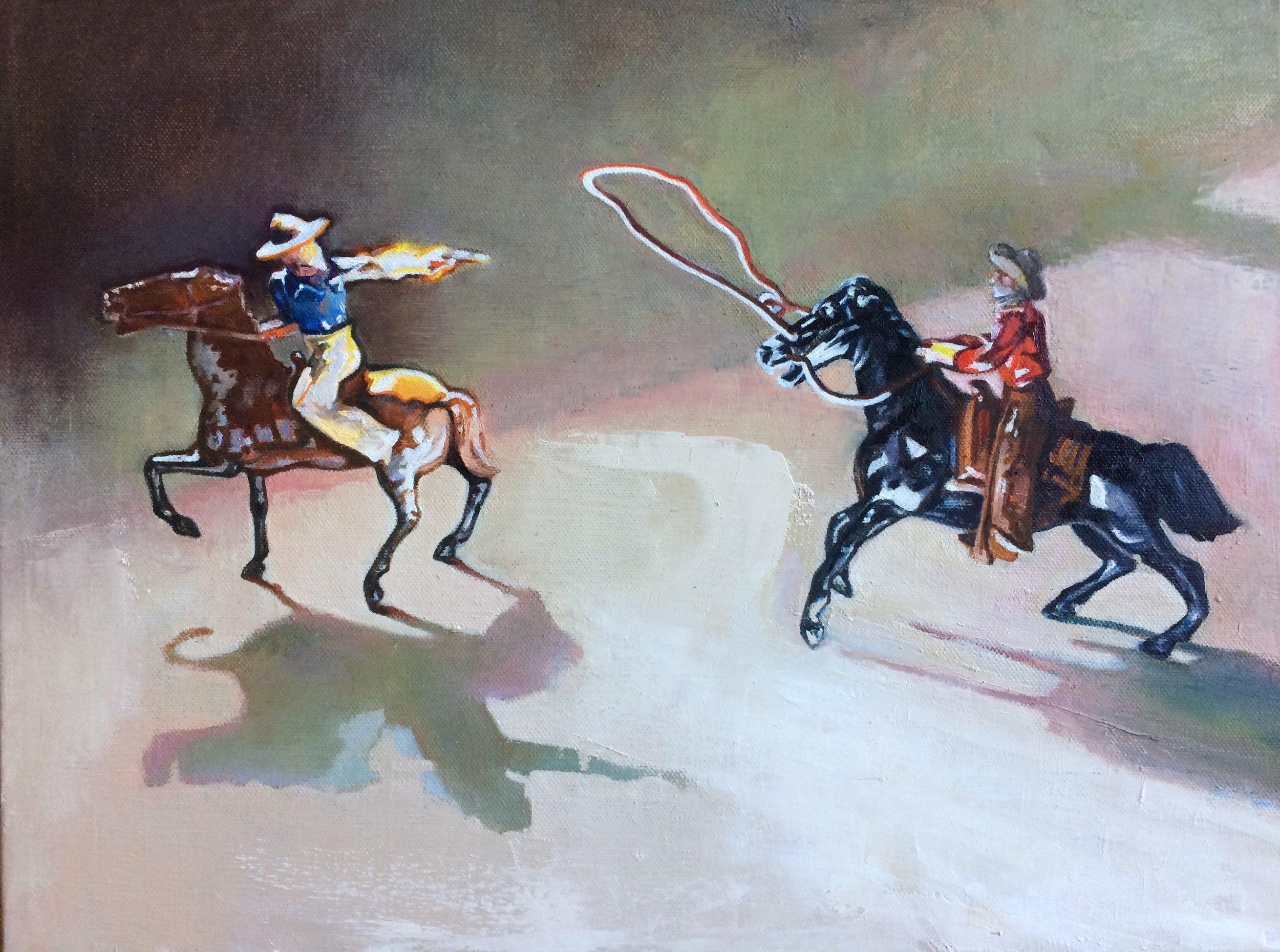 "The Shootout, 12""x16"" oil on canvas"