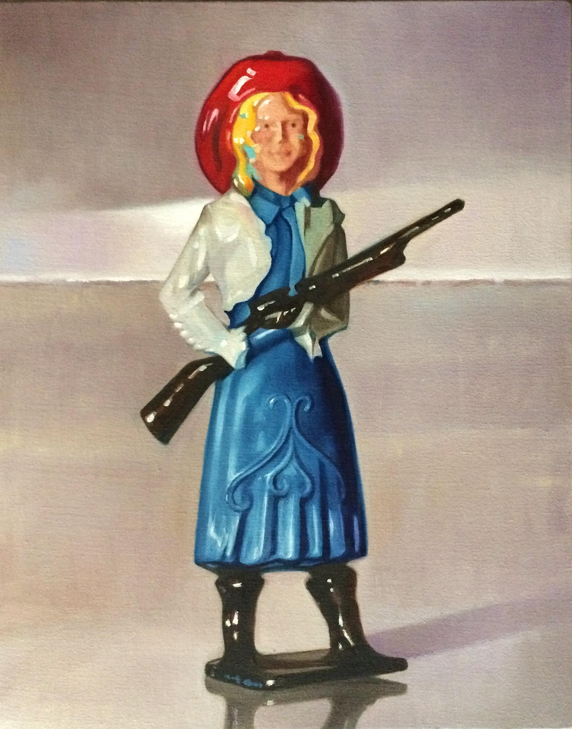 "The Pretty Constituent Cowgirl, 20""x16"", oil on canvas"