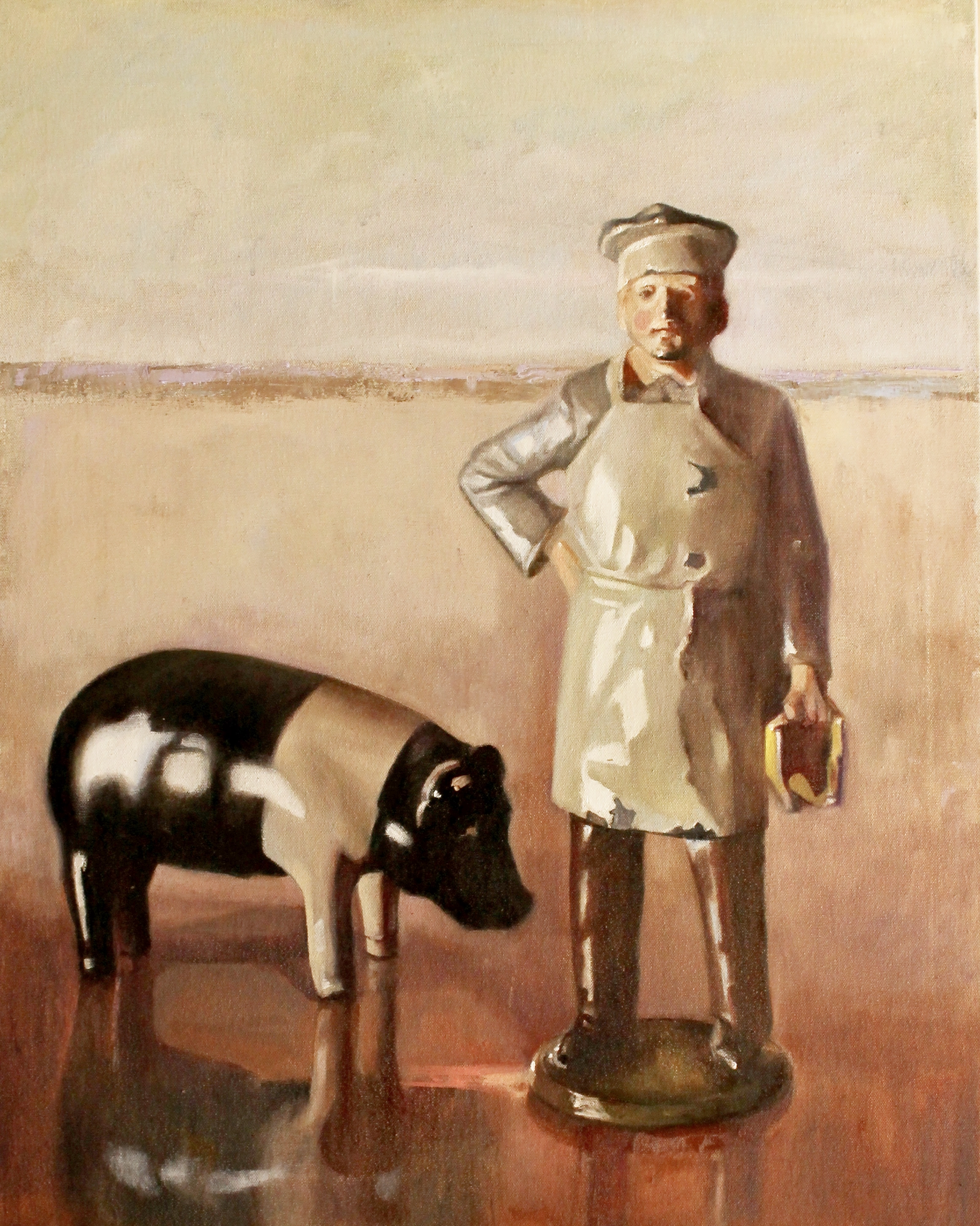 """The Butcher & Pig, 30""""x24"""", oil on canvas"""