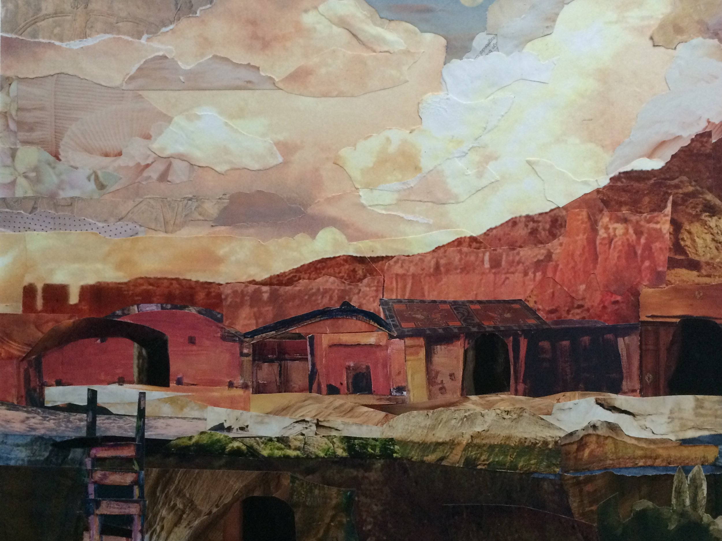 """New Mexico, 14""""x18"""", cut and torn paper"""