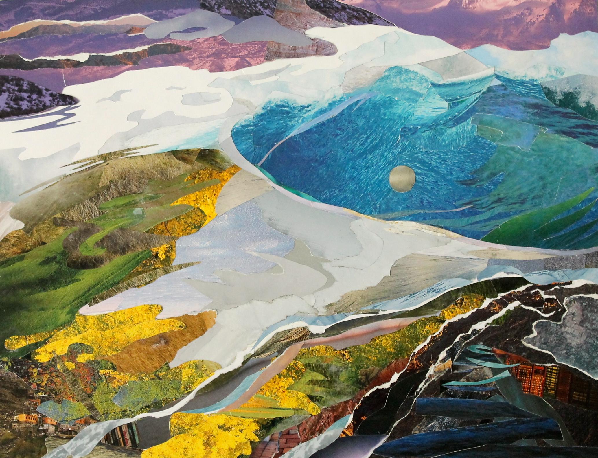 """Patagonia Pool II, Patagonia catalog cut and torn paper, 14""""x18"""