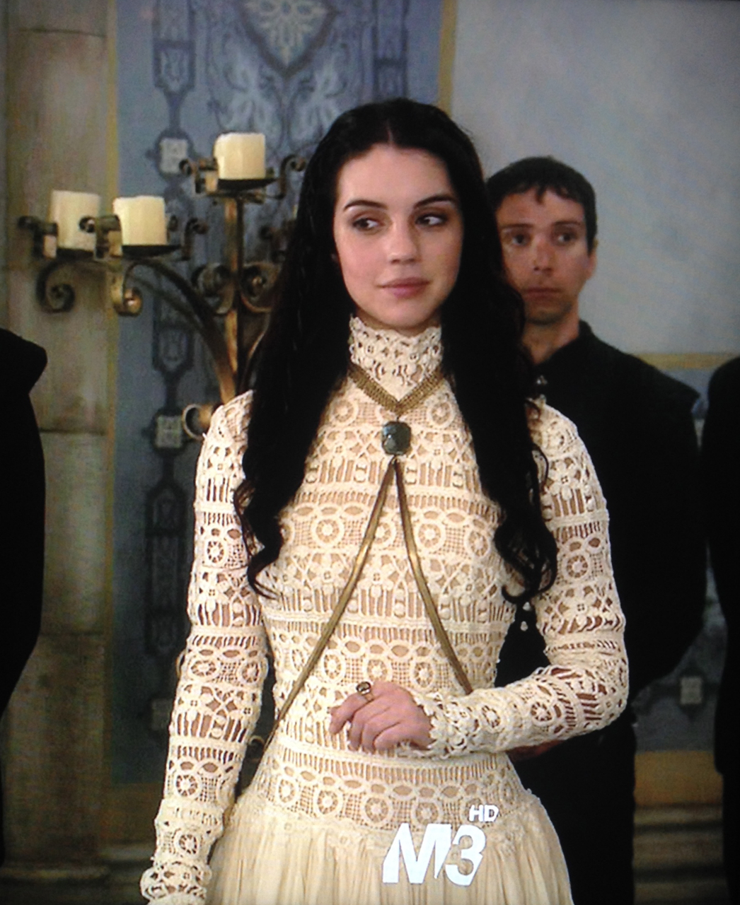 Adelaide Kane as Mary Stuart wearing the Dolorous Labradorite and Chainmaille Bodychain