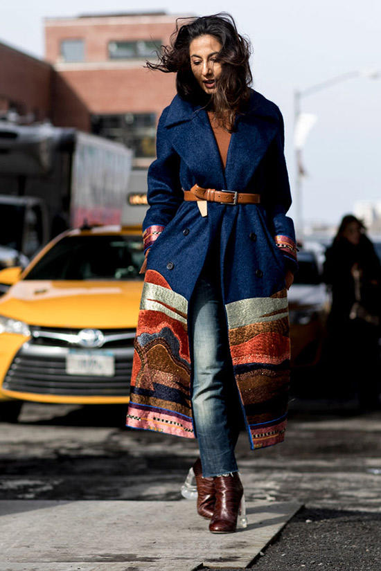 Image by Imaxtree  What's no to love about an embroidered trench paired with a lucite heel!? I think this look would pair perfectly with the equally laid back yet statement making Ida Lariat