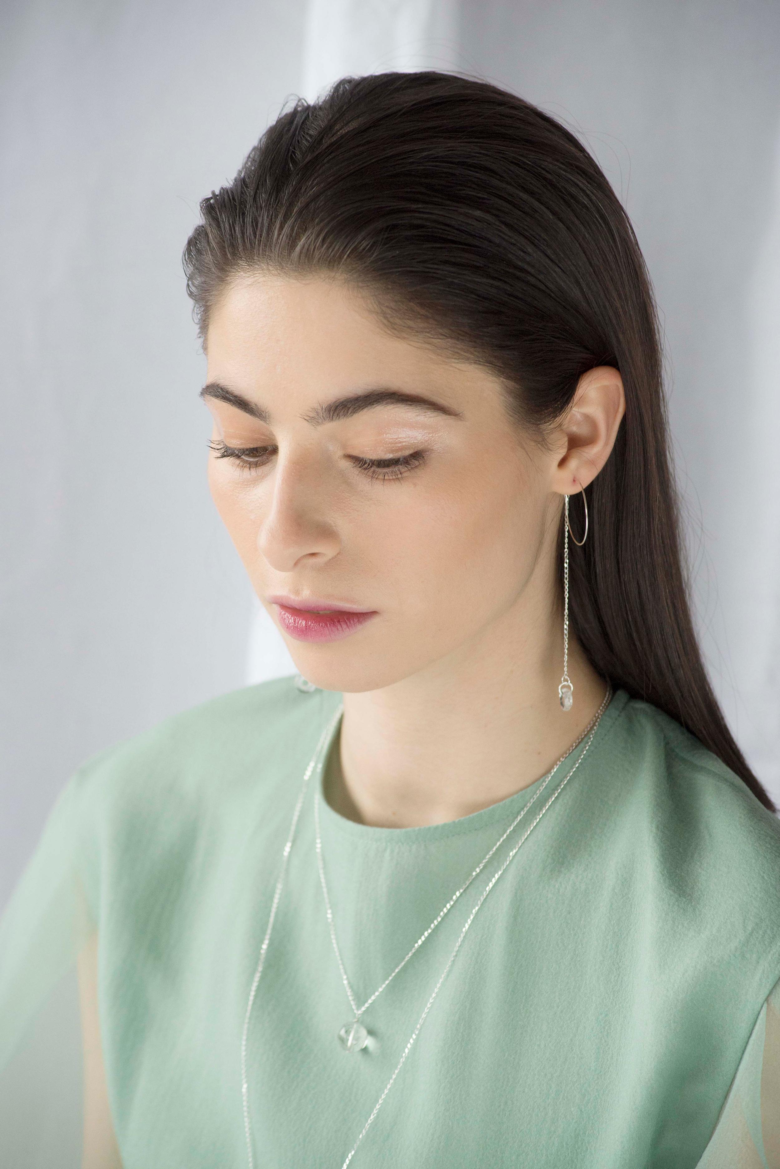 Dolorous Jewelry SS18 Lookbook Silver Quartz Orb Necklace Hoop Earrings 13.jpg