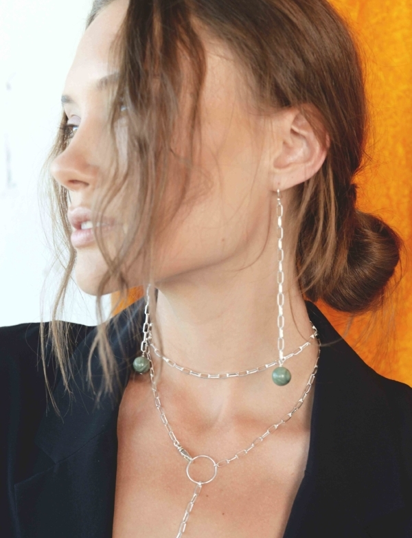 Silver and Jade Shoulder Dusters are both modern and timeless. Shop the look  HERE