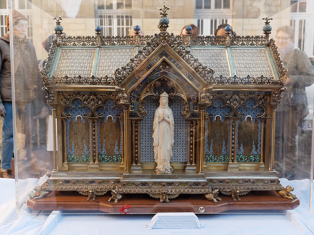 The reliquary of St. Bernadette, depicting Our Lady of Lourdes, outside the Monastery of the Visitation at Caen