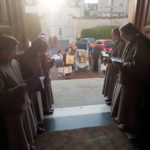 The Visitation nuns wait to welcome the reliquary of St. Bernadette of Lourdes to their monastery at Caen, the shrine of the Servant of God, Leonie Martin