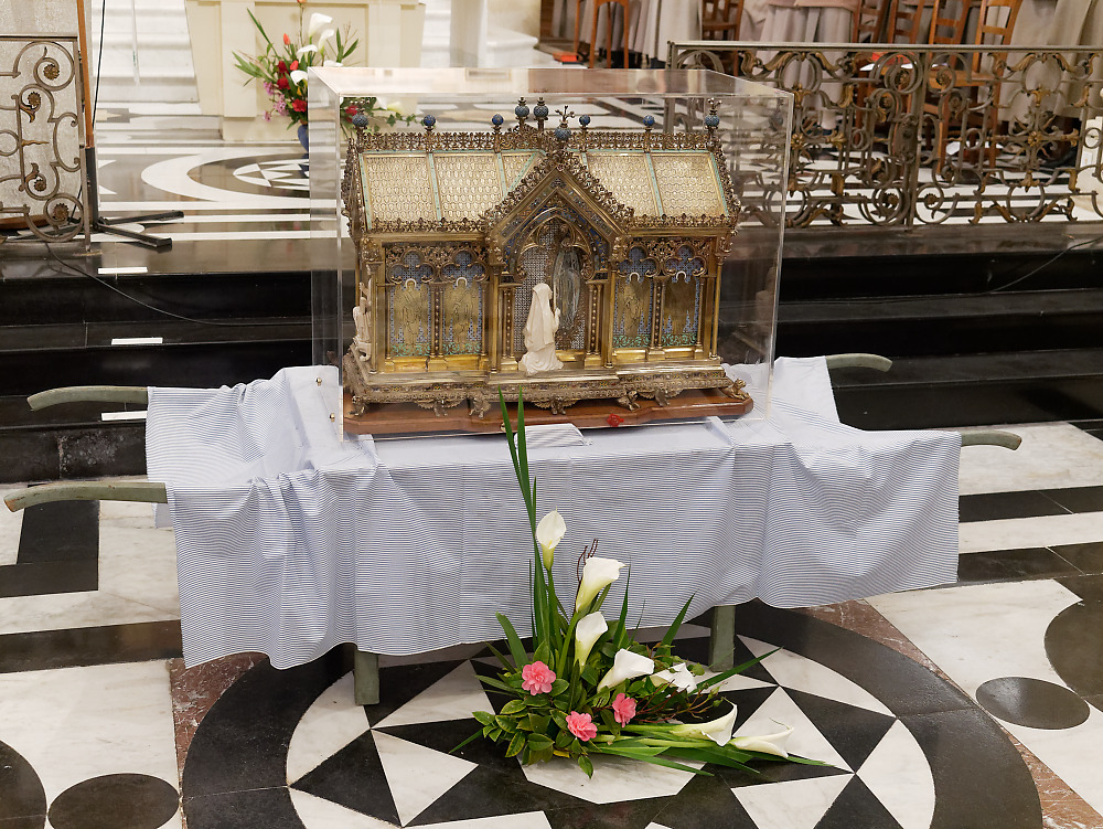 The relics of St. Bernadette of Lourdes before the altar in the chapel of the Monastery of the Visitation at Caen
