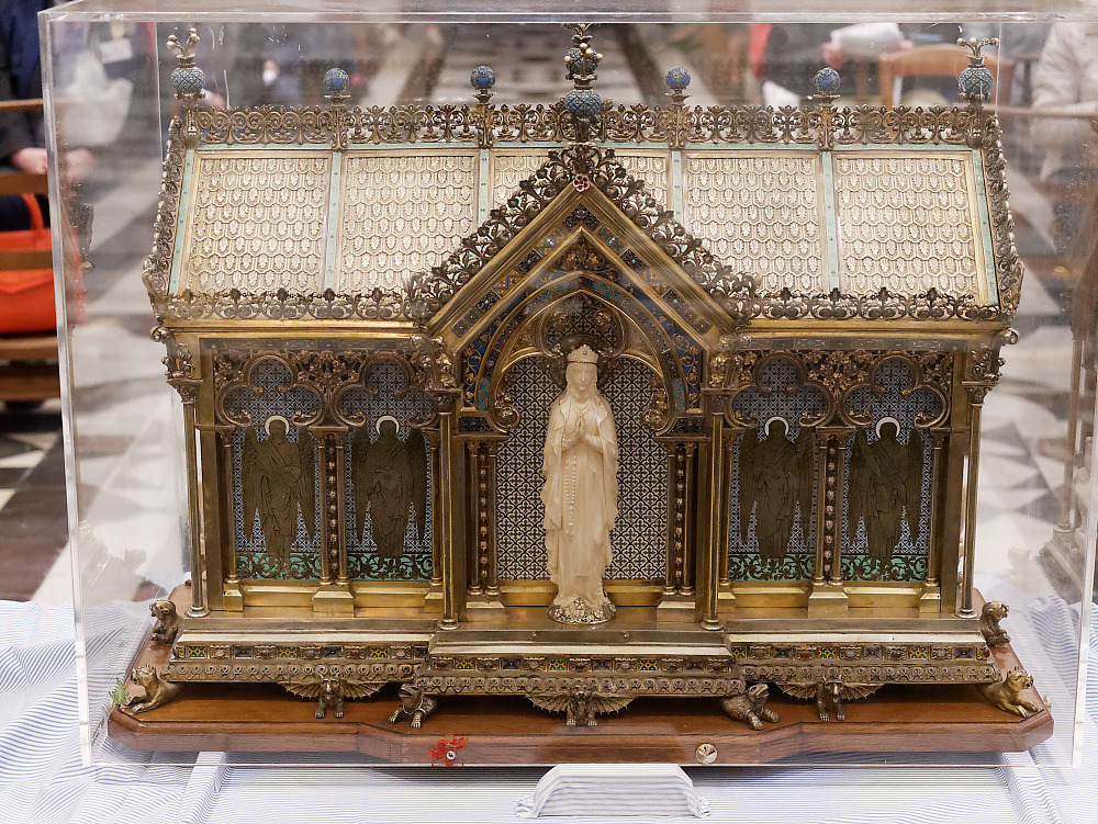 The image of Our Lady of Lourdes, on the reliquary of St. Bernadette, facing the altar of the Monastery of the Visitation at Caen