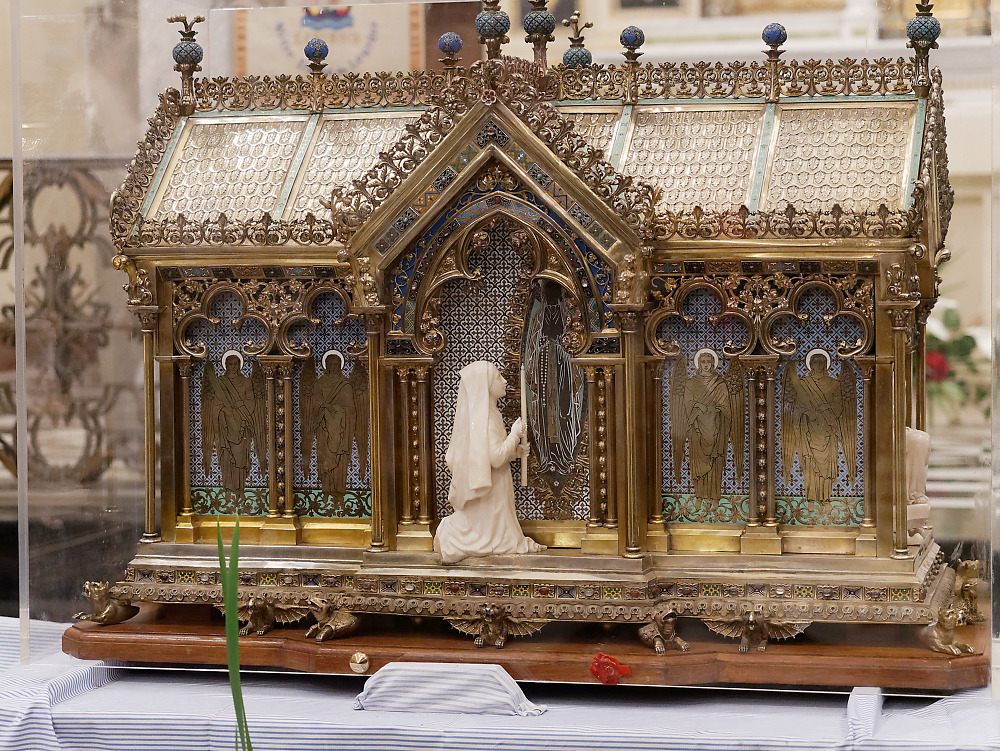 Detail of the reliquary of St. Bernadette of Lourdes
