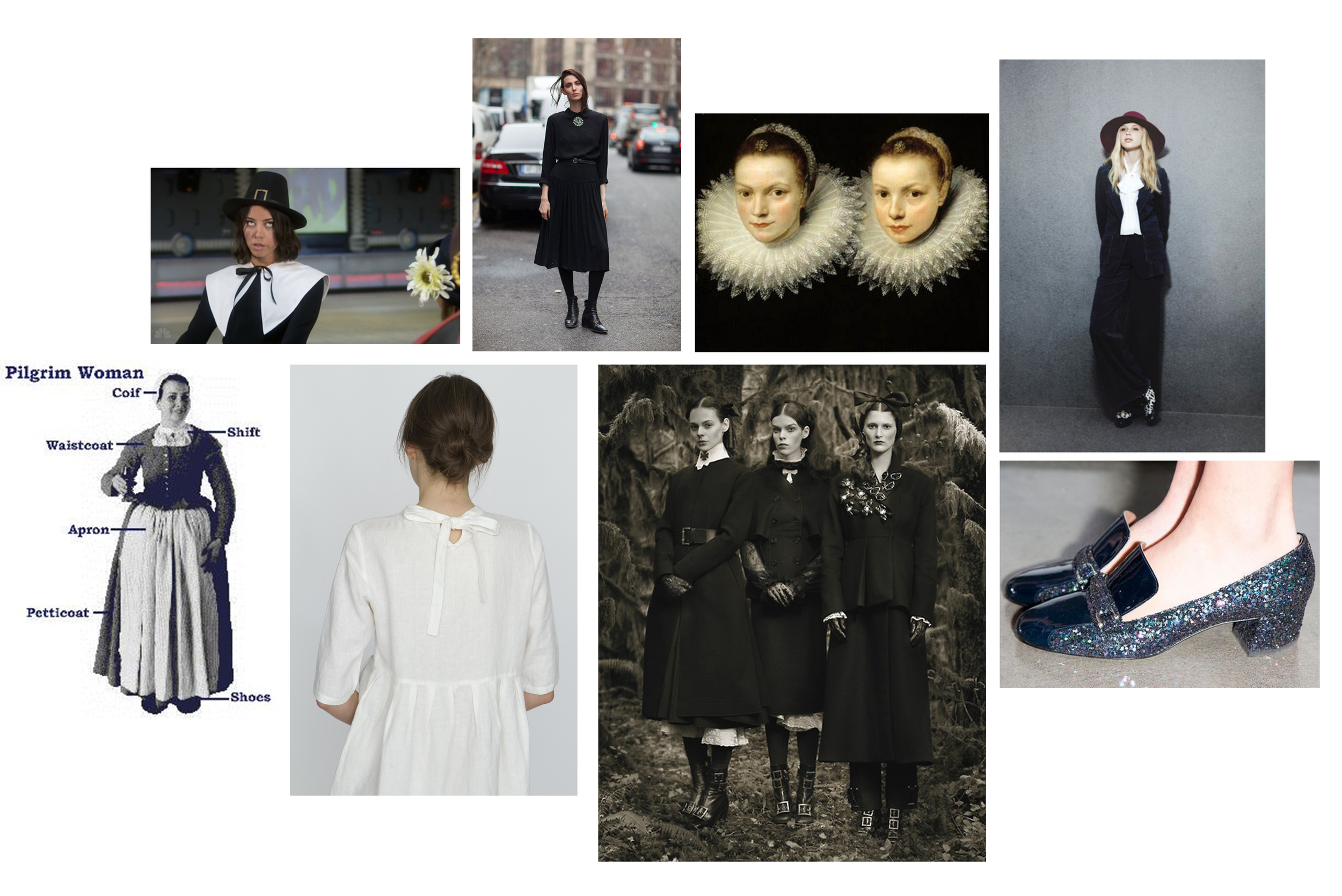 Clockwise from left: April Ludgate in Parks and Rec, Ruby Aldridge, Two Sisters by Cornelis de Vos (c. 1615), Image via  Honey Kennedy , Pilgrim Costume,  White Dress ,  Photo by Michael Thompson , Thakoon Pilgrim Pumps