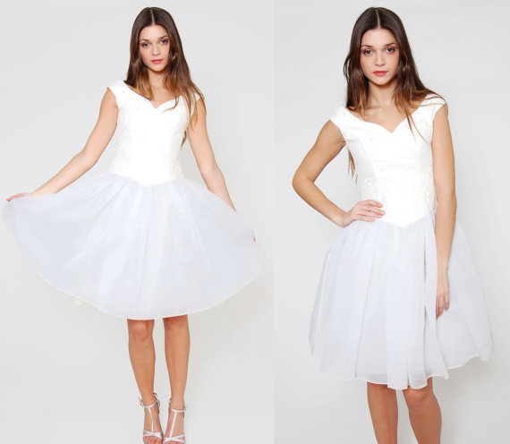 Vintage 80s Mini Party Dress White BROCADE Sweetheart Neckline TULLE Holiday Dress S/M