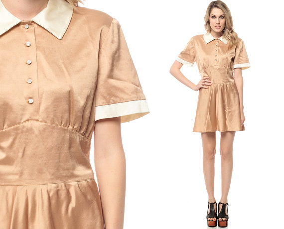 Peter Pan Collar Dress 60s Mini Babydoll Light Brown Waitress 1960s Empire Waist Button Up Dolly Collared Vintage Short Sleeve Large