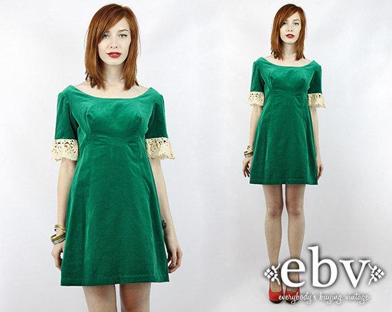 Vintage Green Velvet Babydoll Party Dress S M Green Mini Dress Christmas Dress Holiday Dress Red Velvet Dress Babydoll Dress Cocktail Dress