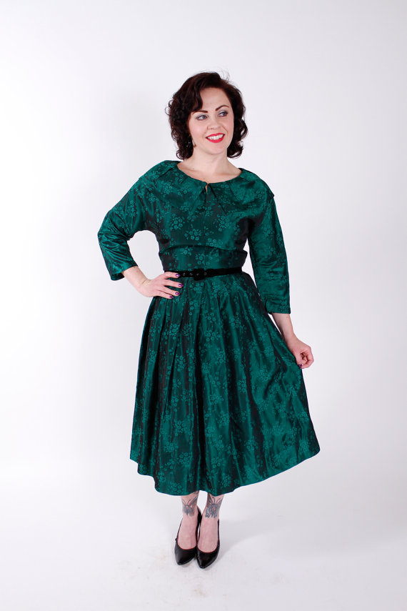 1950s Vintage Dress Green Jacquard 1950s VIntage Party Dress with Full Skirt Size Small