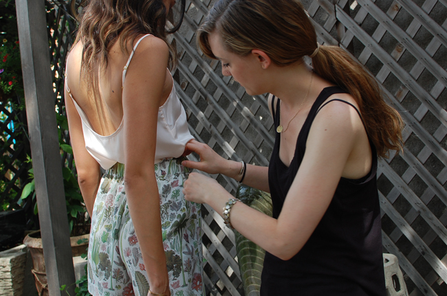 Leah adjusting the drape on this shorts/tank combo