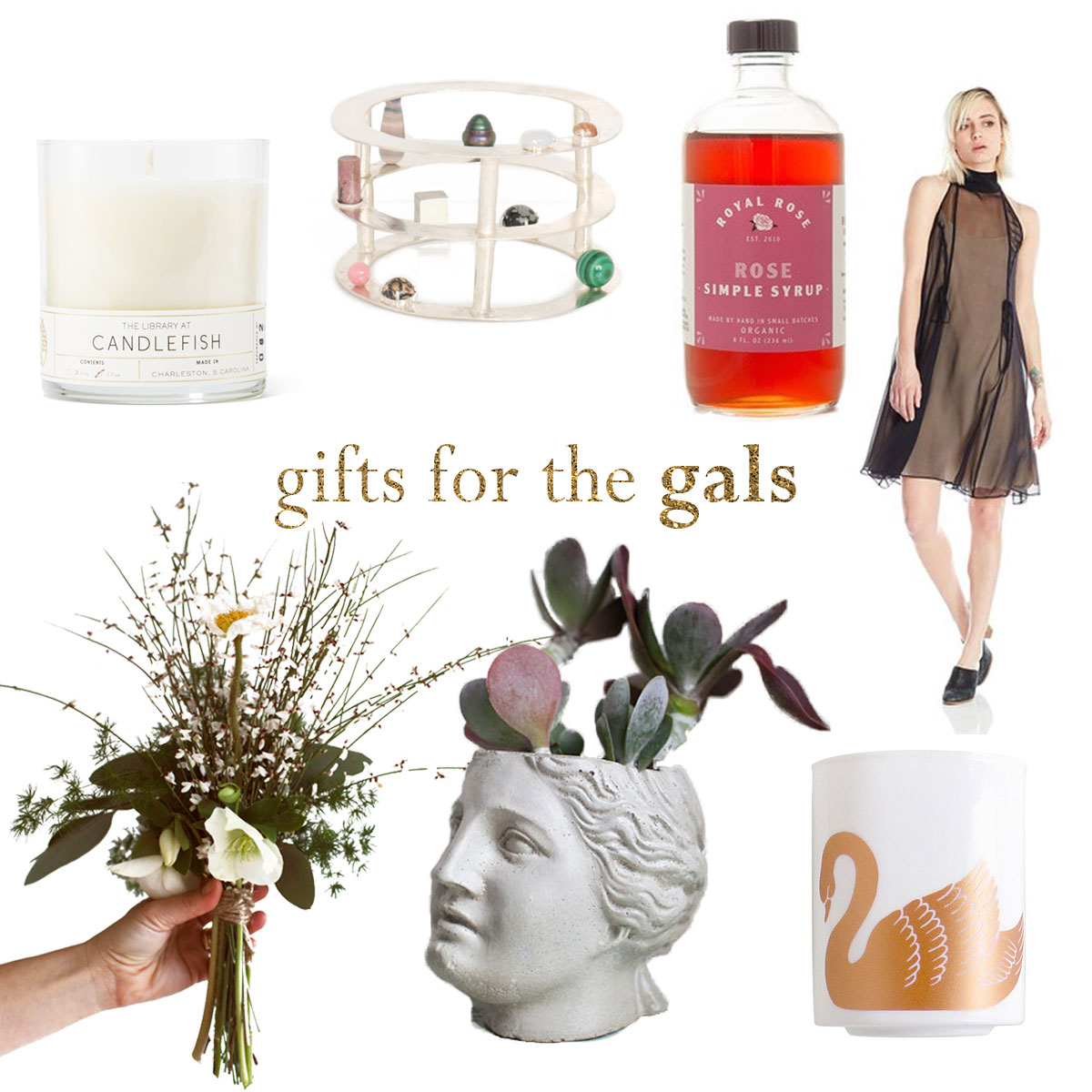 Clockwise from top left:  Candlefish library jar candle ,  Three Tier Bracelet by Air Line Color , Organic Rose Simple Syrup by Oak and Salt ,  Plante Aster Dress , Weekly Flower Share by Flowershop , Venus Planter by Brooklyn Global ,  Xenia Taler Swan Tumbler