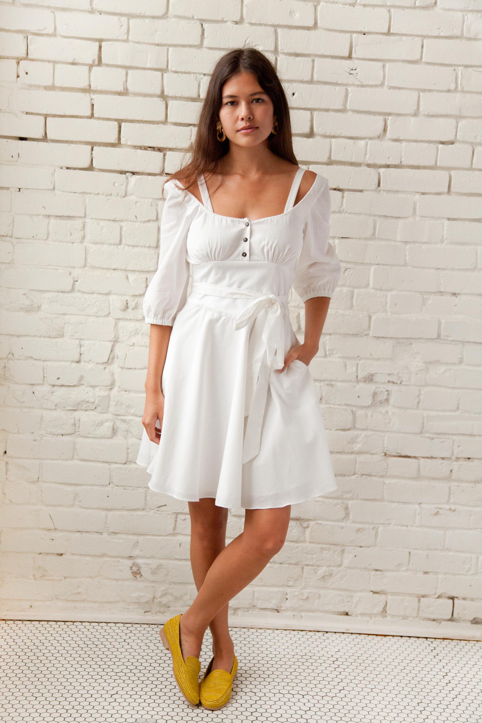 Plante Primrose Sun Dress in White Cotton