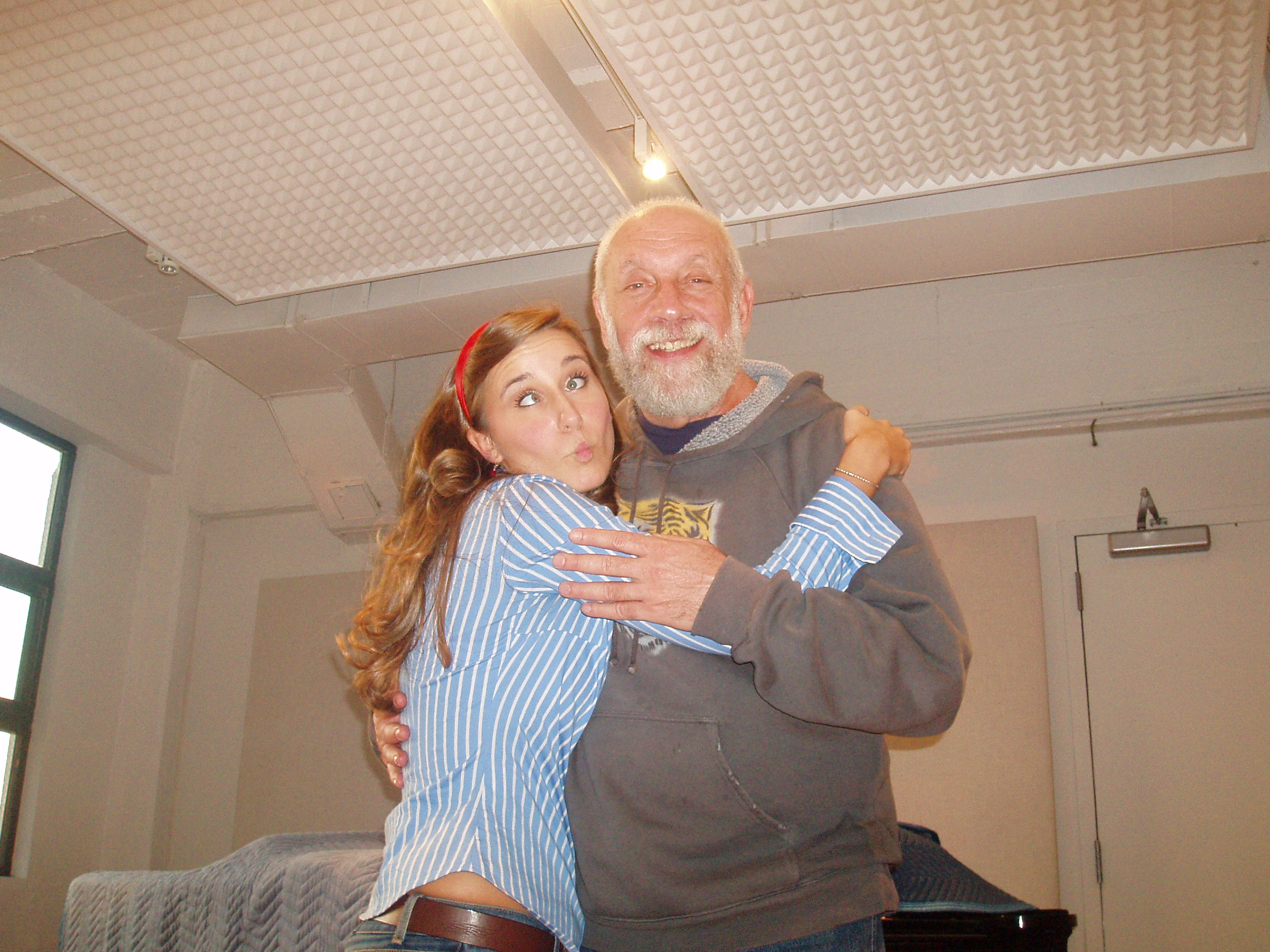 Being silly after a recording session with Grammy award winning producer, Joel Dorn.