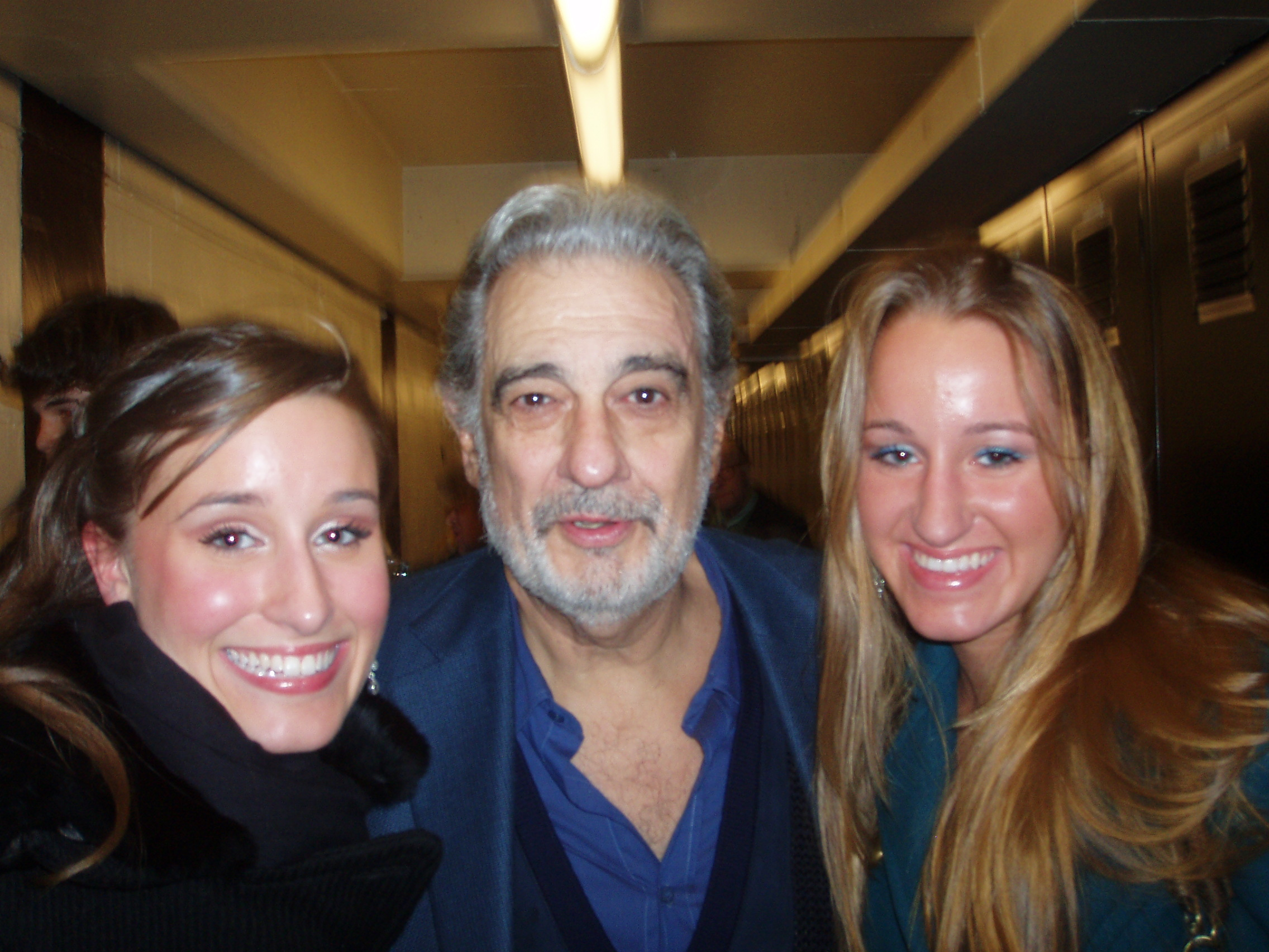 Lauren and her sister with Placido Domingo