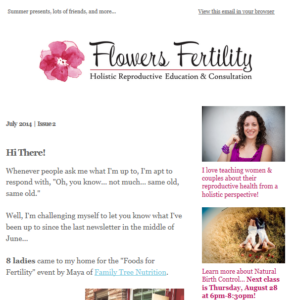 June 2014  - The Very First Flowers Fertility Newsletter...