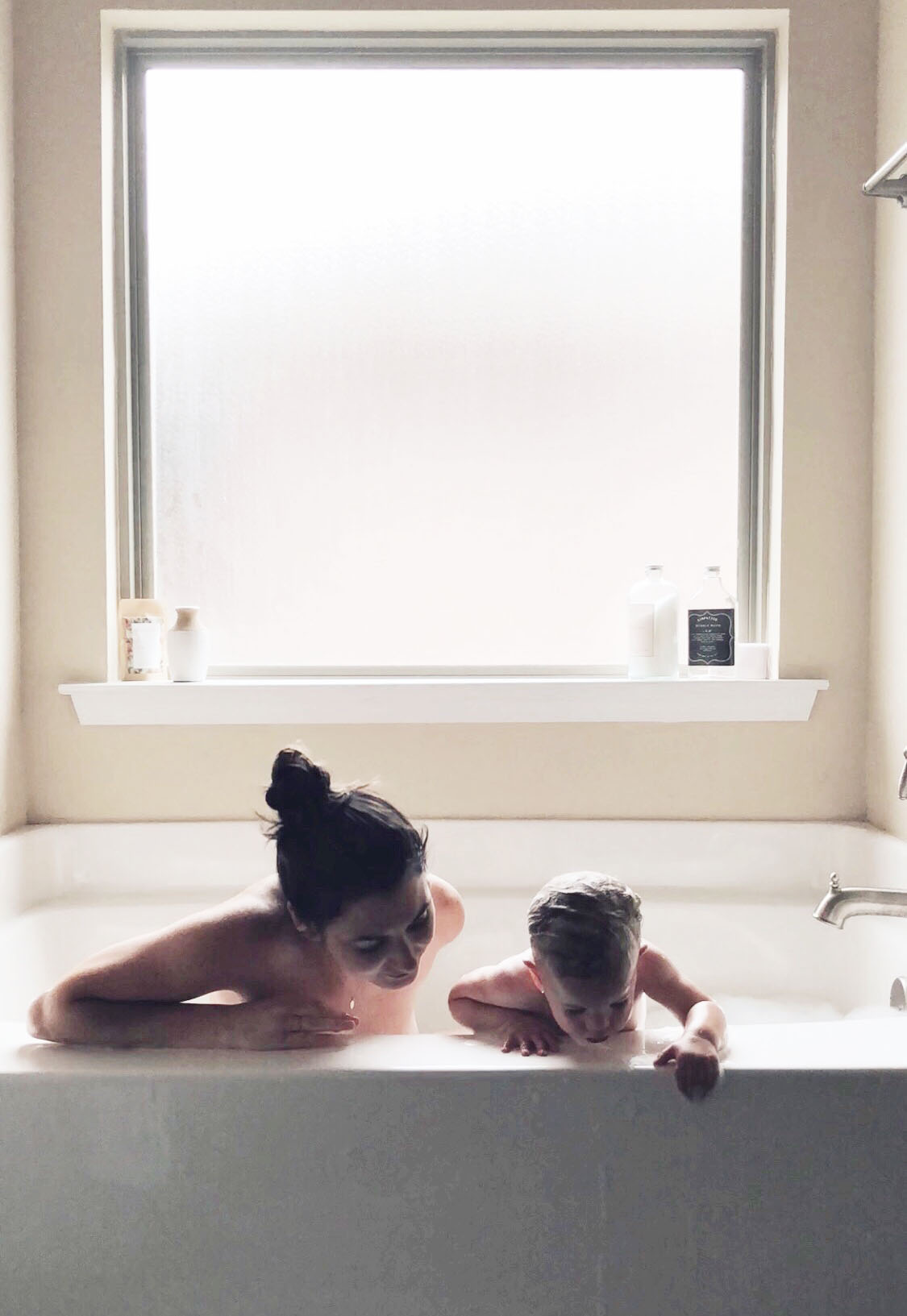 Bathtime, Mom and Baby