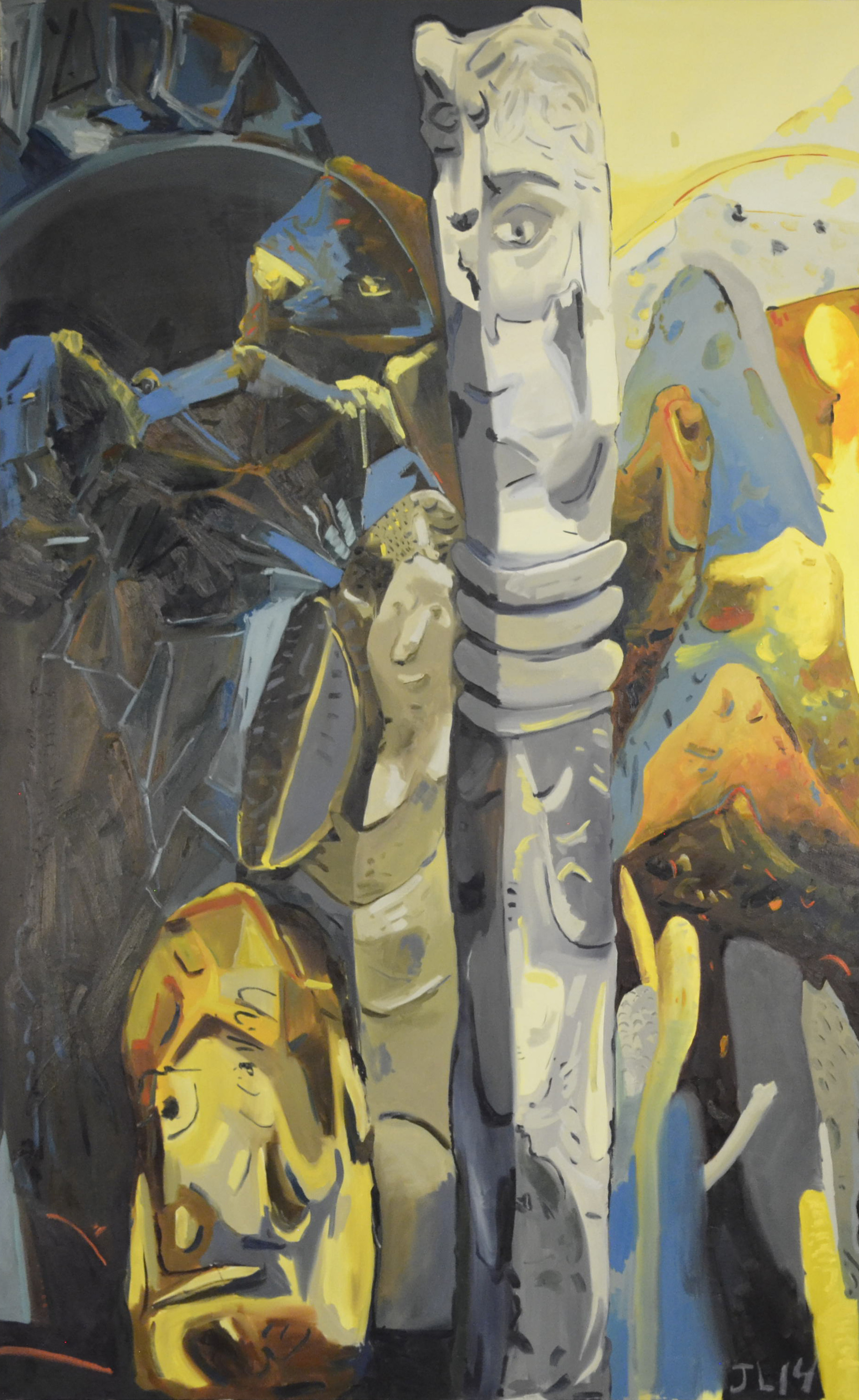 Totem Between Two Space, oil on canvas, 60x96.
