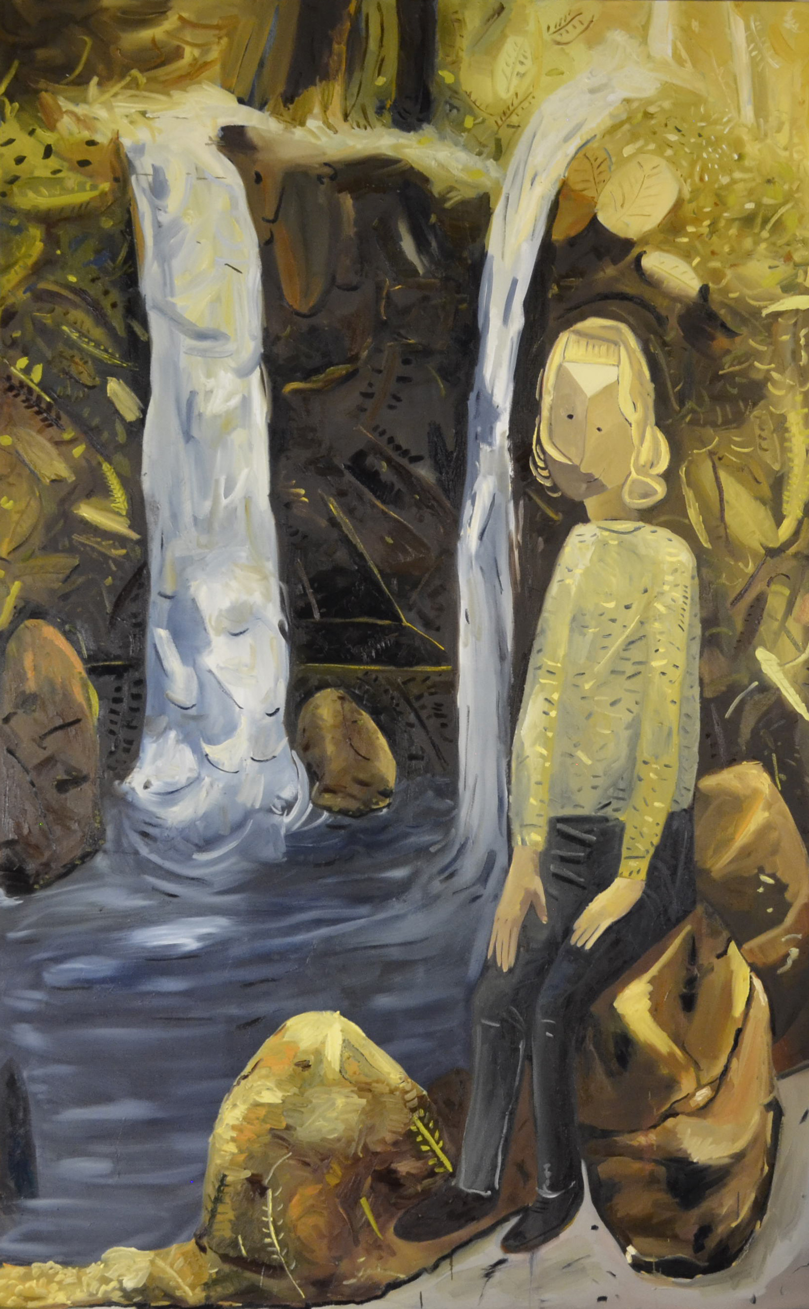 Waterfall, oil on canvas, 60x96.